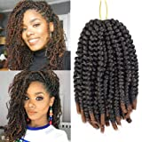 8 Pack Spring Twist Crochet Hair Ombre Bomb Twist Crochet Braids 8 Inch Fluffy Synthetic Braiding Hair Extensions 55g/pack (T1B/30)
