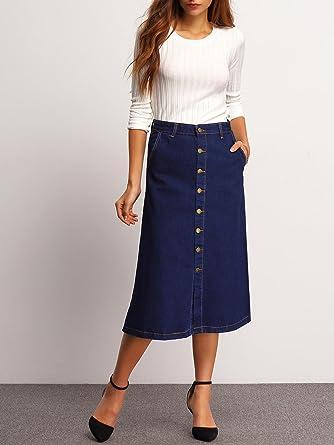 De las mujeres de la Marina Botones de jeans falda larga: Amazon ...