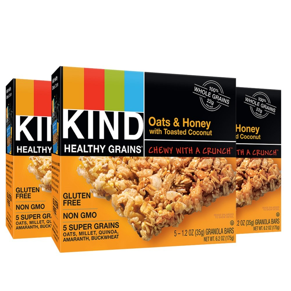 KIND Healthy Grains Granola Bars, Oats & Honey with Toasted Coconut, Gluten Free, 1.2oz Bars, 15 Count