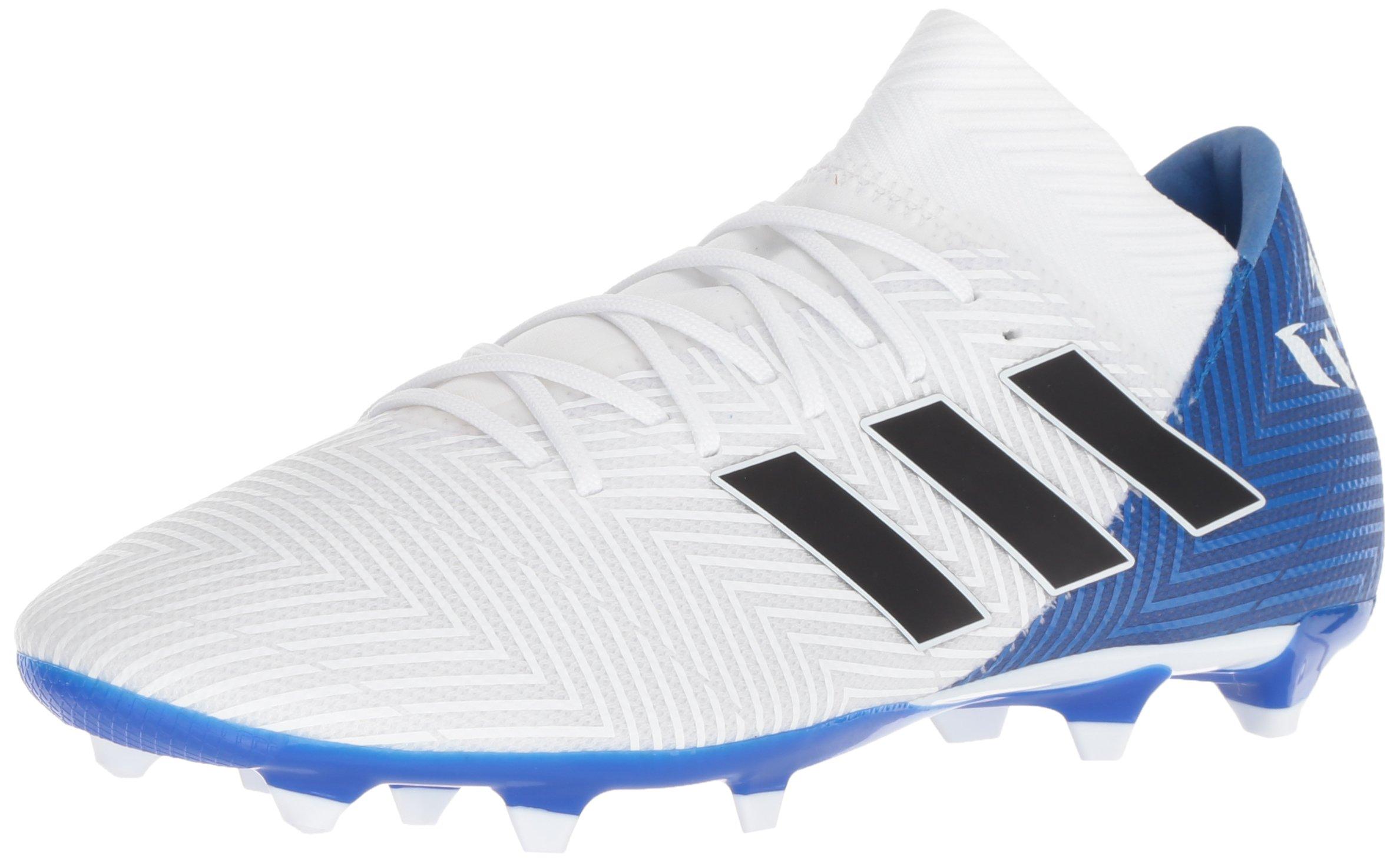 adidas Men's Nemeziz Messi 18.3 Firm Ground Soccer Shoe, White/Black/Football Blue, 6.5 M US