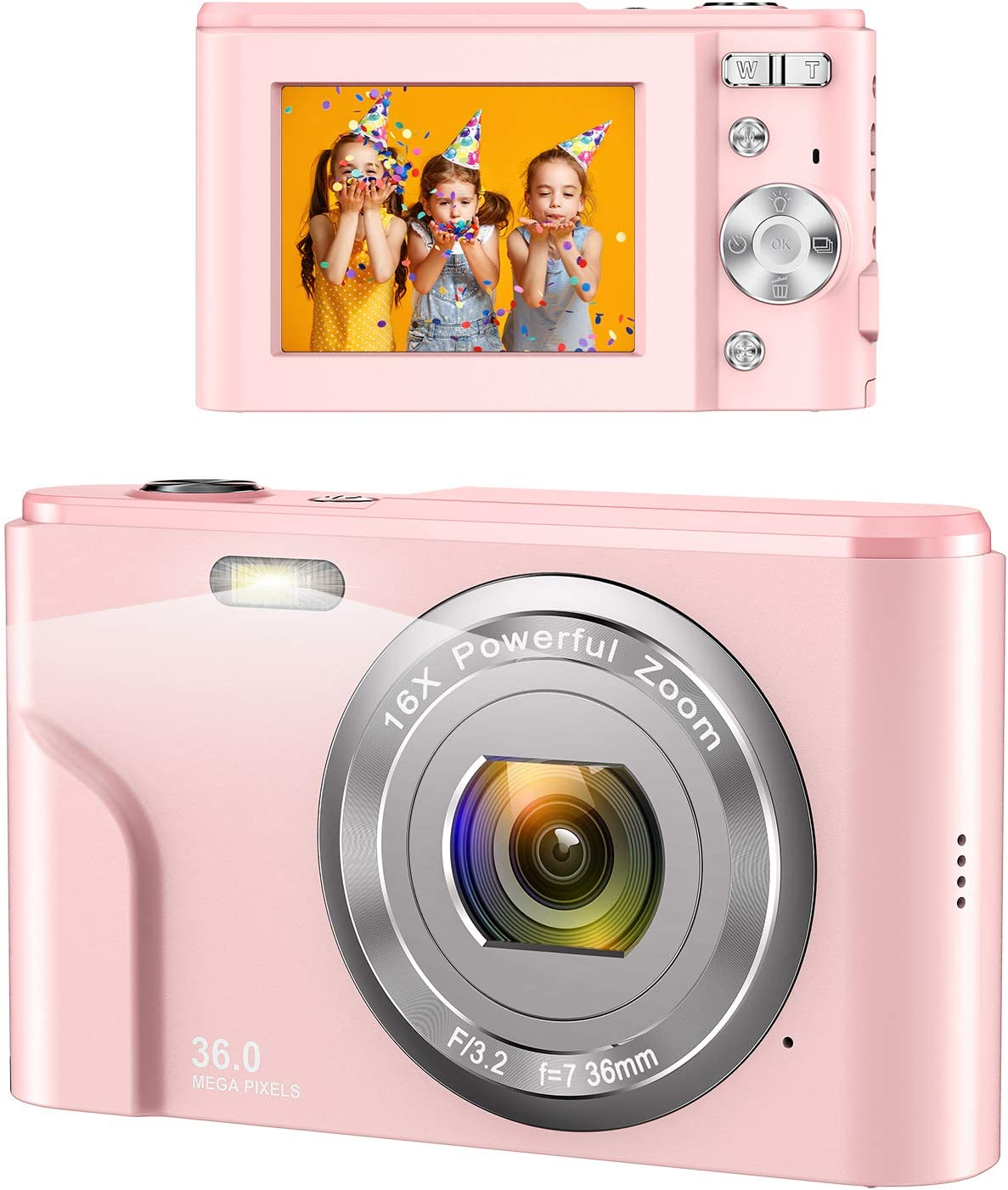 Digital Camera, wechi 1080P HD Digital Students Cameras Pink Video Camera Vlogging Camera with 16X Digital Zoom, Mini Camera for Kids/Teens/Seniors/Beginners