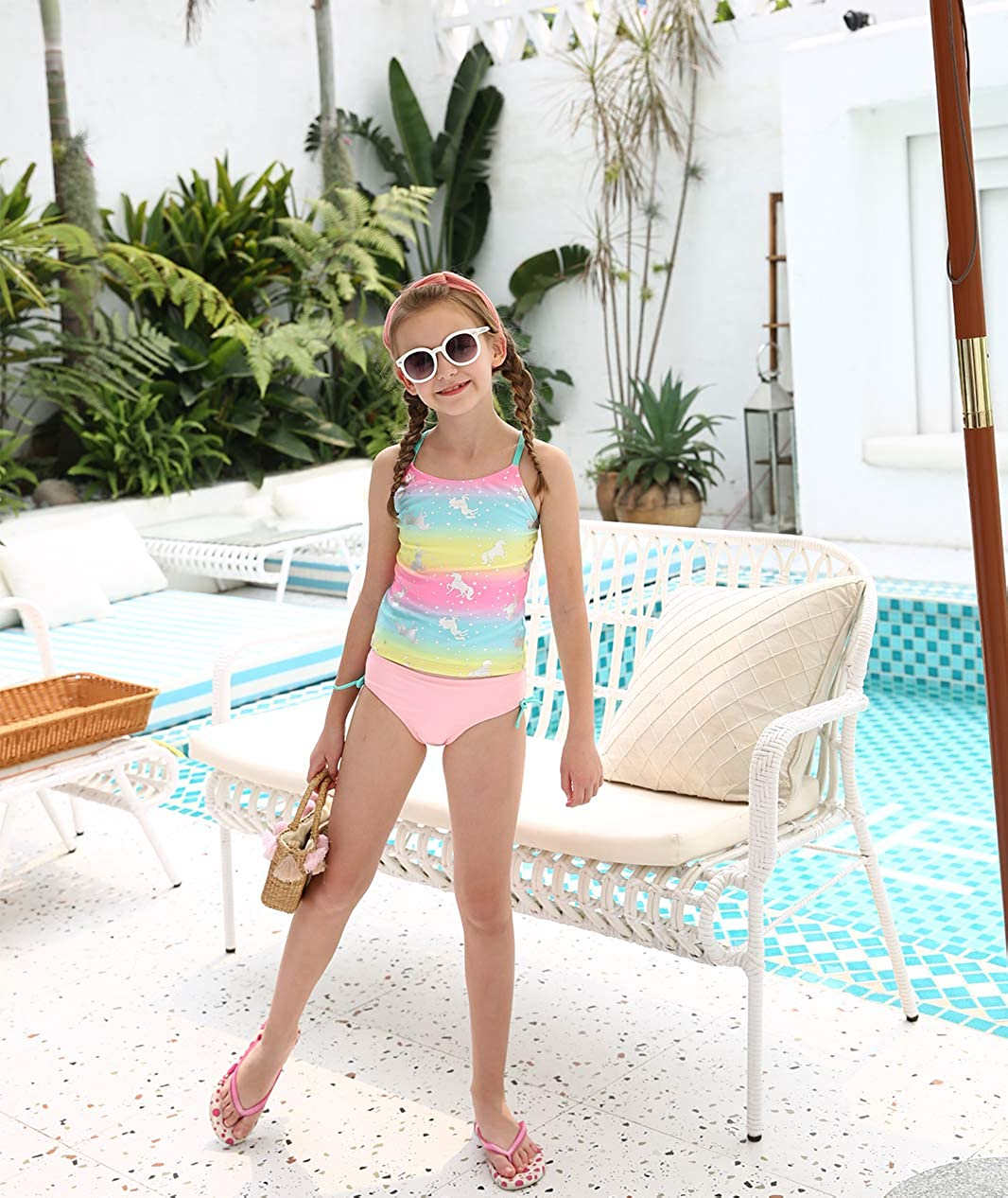 BELLOO Girls Tankini Set Swimsuits Two Pieces Bathing Suit Swimwear