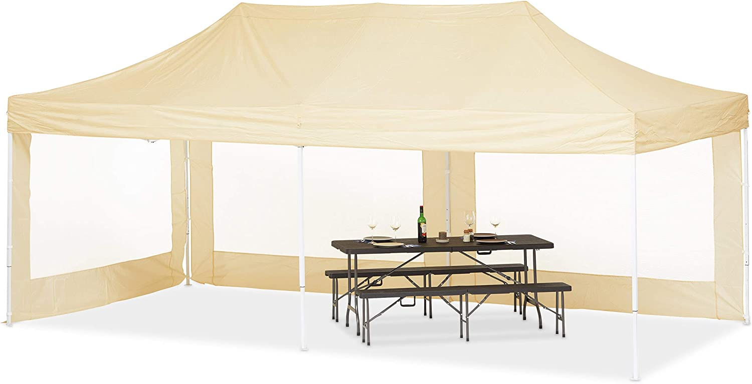 Relaxdays Carpa Jardín Plegable XXL, Champán: Amazon.es: Jardín