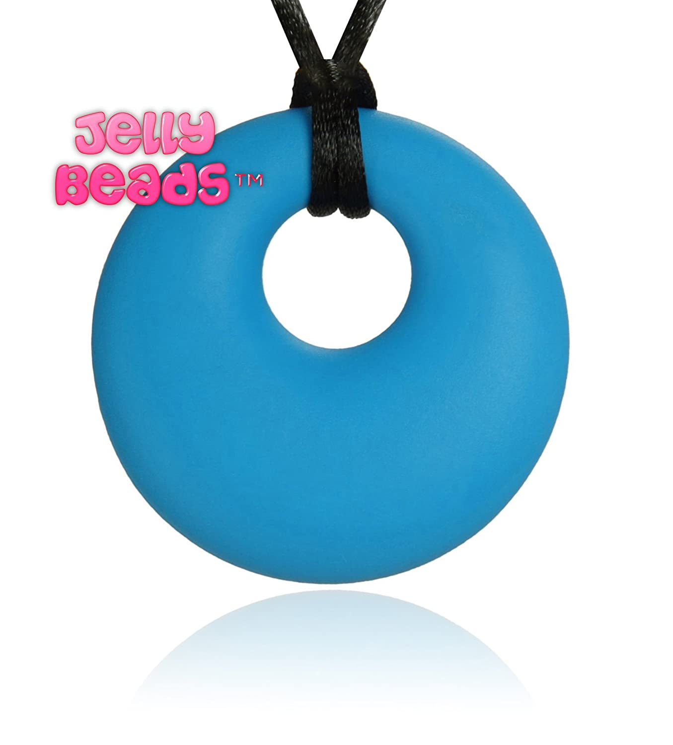 Jelly Beads Ares Silicone Teething Necklace - Teether Ring Donut Pendant for Mom (Deep Sky Blue) by Jelly Beads   B00RPP0GV6