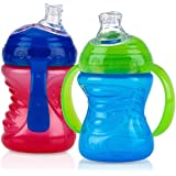 Nuby 2-Pack No-Spill Super Spout Grip N' Sip Cup, Red and Blue