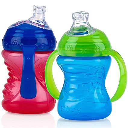 Red and Blue 10 Ounce Nuby 2-Pack No-Spill Super Spout Easy Grip Cup