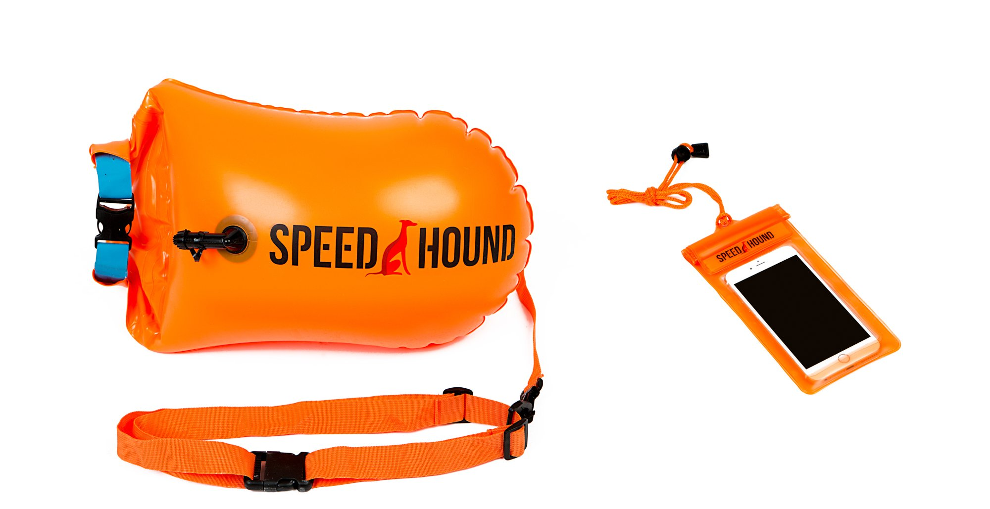 Speed Hound Sale Swim Buoy - Open Water Swim Buoy Flotation Device with Dry Bag and Waterproof Cell Phone Case (Orange) for Swimmers, Triathletes, and Snorkelers. Floats for Safer Swims