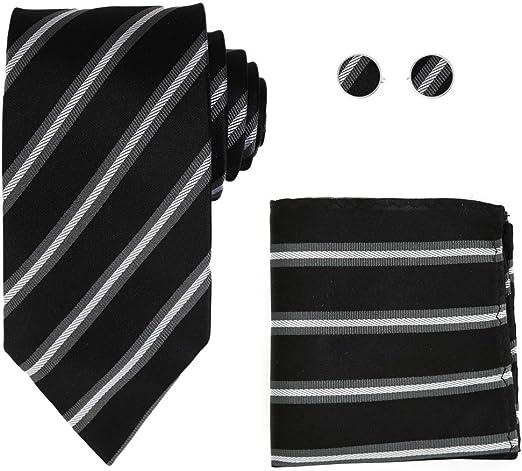 H5006 White Stripes Wedding Anniversary Gifts Silk Tie Cufflink Hanky Set By Y/&G