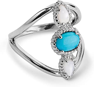 product image for Carolyn Pollack Sterling Silver White Mother of Pearl and Turquoise Three Stone Ring Size 5