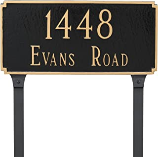 "product image for Montague Metal 7.25"" x 15.75"" Madison Two Line Address Sign Plaque with Lawn Stakes, Standard, Brick Red/Gold"