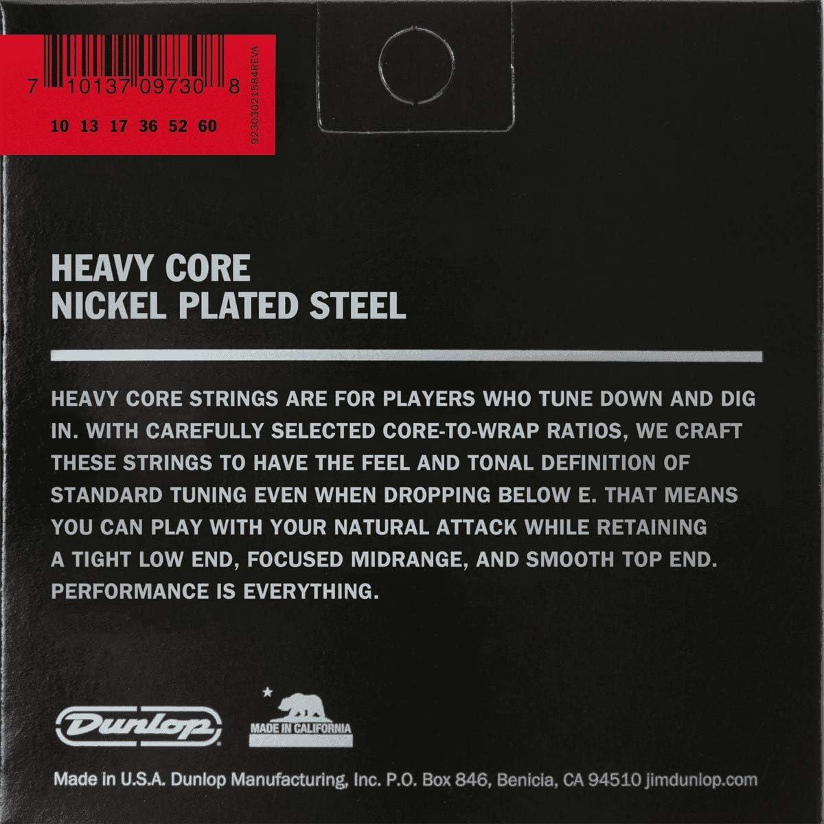 Heavy .010 7 Strings//Set Dunlop DHCN1060 Heavy Core Nickel Wound Guitar Strings .060