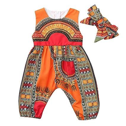 Mono y Diadema de Estilo Africano para bebé niñas, Mono sin Mangas ...