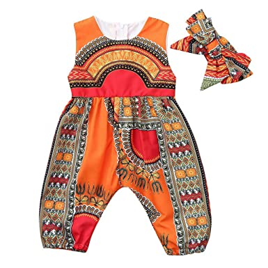 52519219863 Amazon.com  Hatoys Toddler Kids Baby Girl Outfits Clothes African Print  Sleeveless Romper Jumpsuit  Clothing