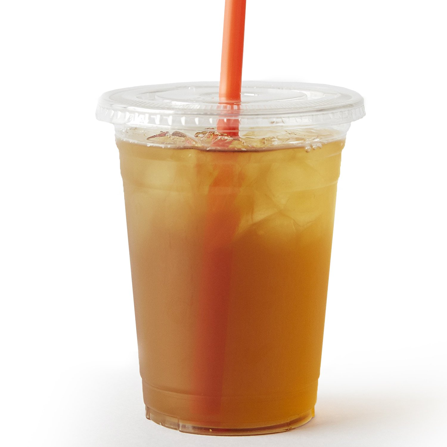 100 Sets 16 oz. Plastic CRYSTAL CLEAR Cups with Flat Lids [by COMFY PACKAGE] for Cold Drinks, Iced Coffee, Bubble Boba, Tea, Smoothie etc. by Comfy Package (Image #1)