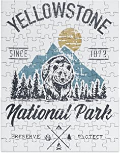 Yellowstone National Park Picture Puzzle, Home Decor Art Paintings for Living Room Wall, Adults Teenagers Educational Toys Games 108 Pcs Jigsaw, 9x7 in