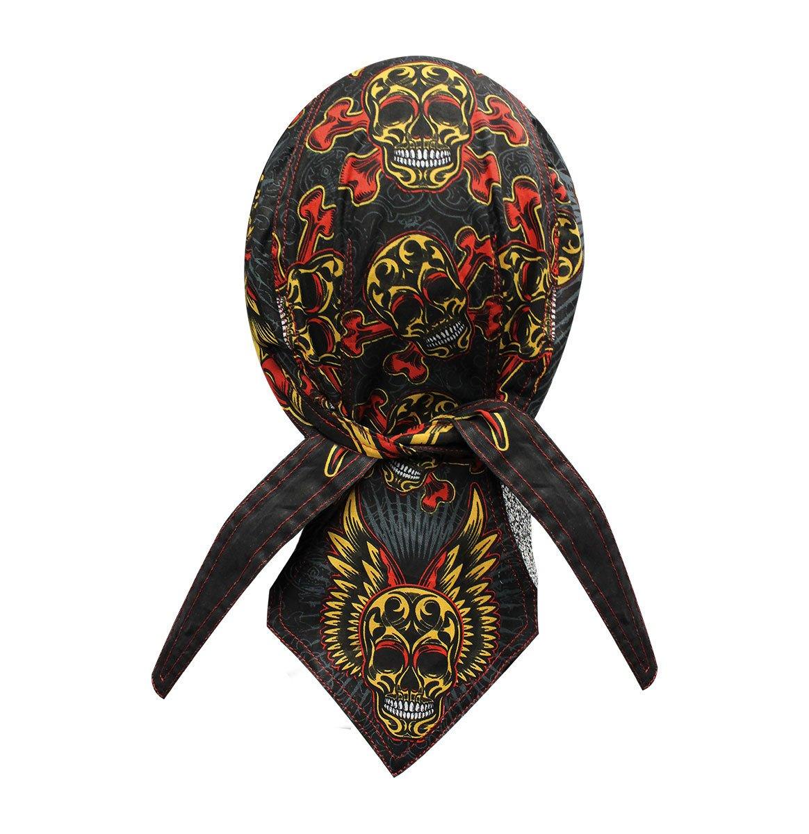 Danbanna Deluxe Tattoo Sugar Wing Skull Durag Head Wrap Biker Skull Cap Helmet Liner