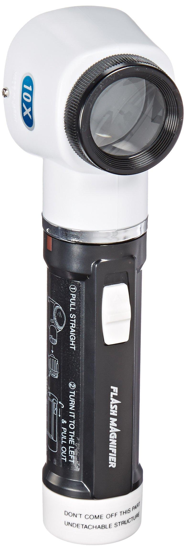 Donegan V980-10 Flashlight Magnifier with Measurement Scale Lens, 10x Magnification, 30mm Lens Diameter