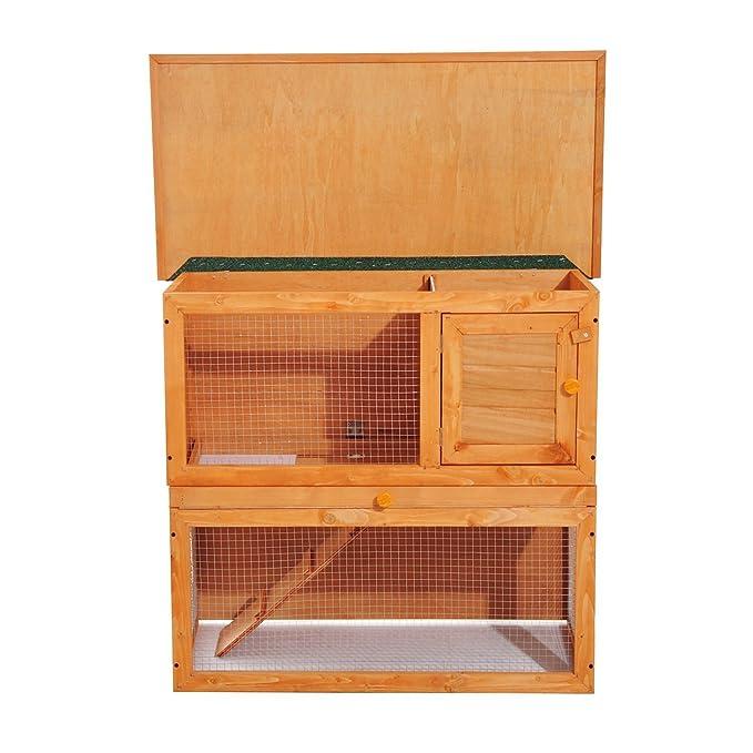 PawHut Conejera Madera Jaula para Conejos o Casa para Animales Pequeños 90x45x80cm Área de Juego: Amazon.es: Hogar