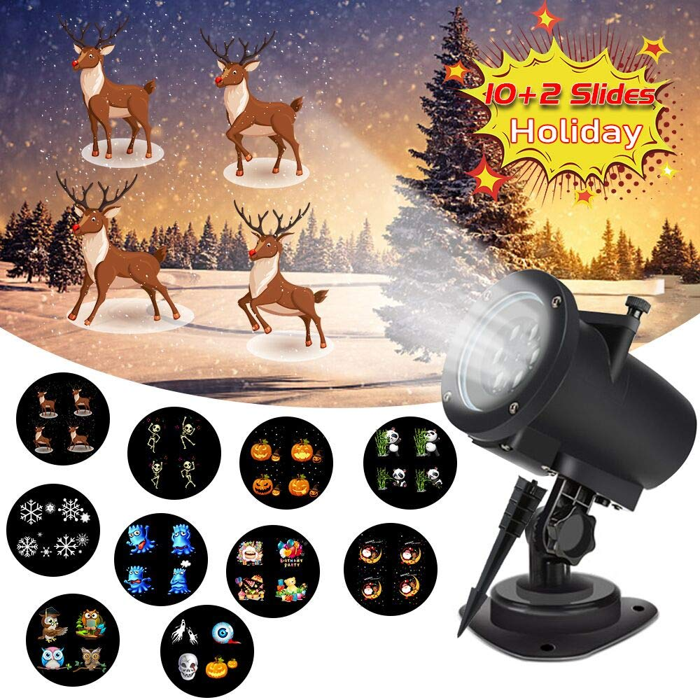 LED Christmas Projector Lights, 5W Animated Projector Lights with 12 Exclusive Design Slides, IP65 Waterproof Landscape Garden Lights for Child Birthday Gift Halloween Holiday Wedding Party Decoration