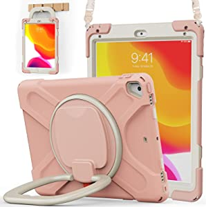 BATYUE iPad 9.7 inch Case for 2018 iPad 6th Gen/ 2017 iPad 5th Gen, iPad Air 2/ iPad Pro 9.7'', Shockproof Protective Rugged Cover with Pencil Holder & Rotating Bracket & Shoulder Strap(Rose Gold)