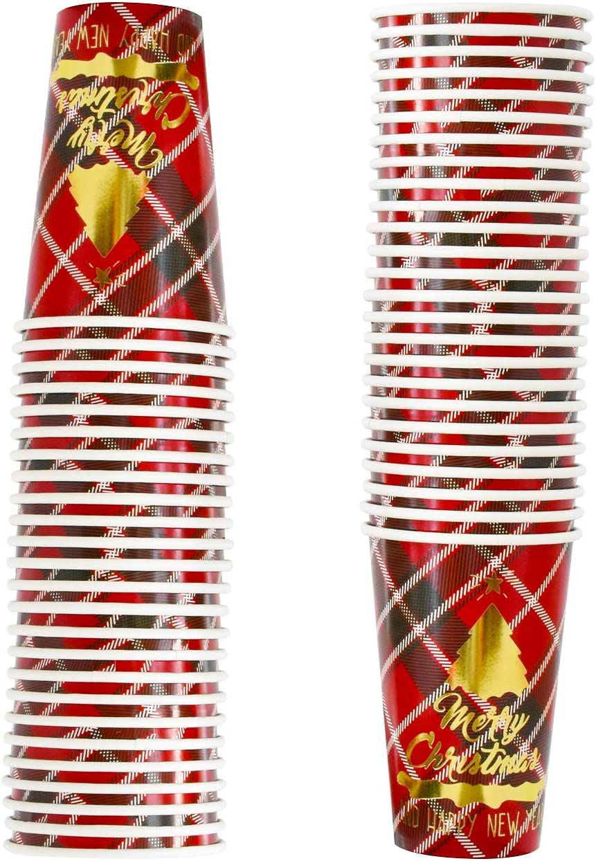 50PCS 16OZ Disposable Christmas Cup New Year Buffalo with Gold Foiled Christmas Tree