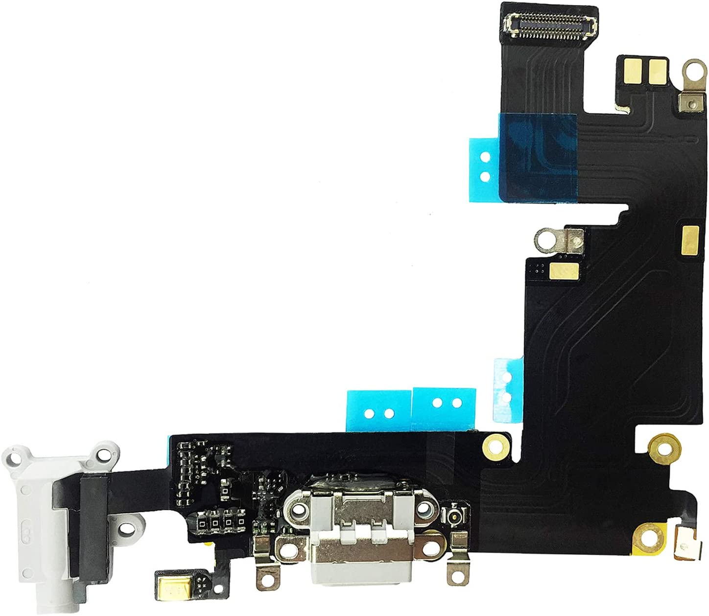 Johncase OEM Charging Port Dock Connector Flex Cable w/Microphone + Headphone Audio Jack Port Ribbon Replacement Part Compatible for iPhone 6 Plus All Carriers (Black/Space Gray)