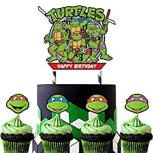 25 Decorations for Ninja Turtle Cake Topper Cupcake Toppers Birthday Party Supplies Decor for Children