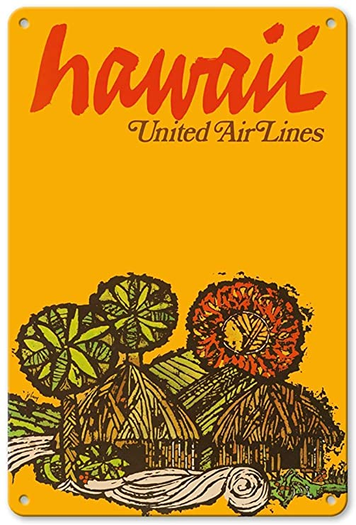 Shunry Hawaii United Air Lines Placa Cartel Vintage Estaño ...