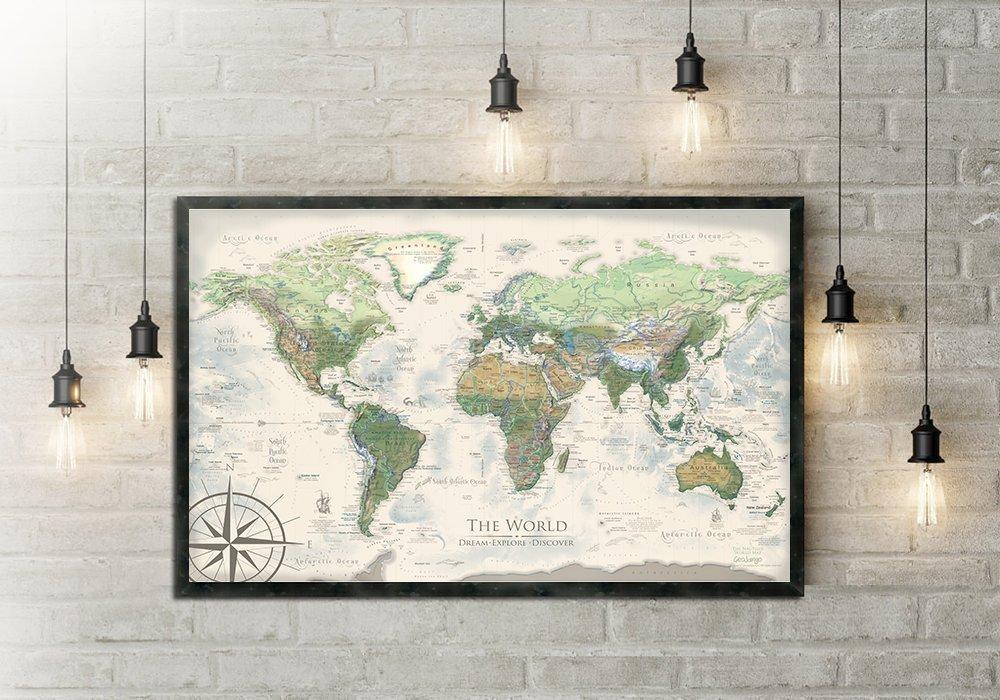 World Map Push Pin - The Nautilus World Map - Large Framed Map by GeoJango