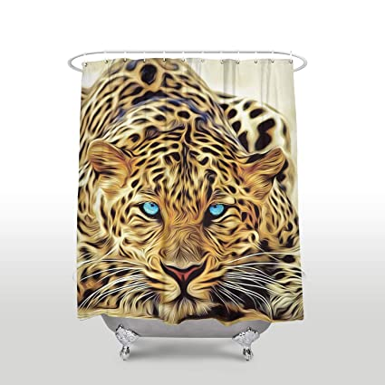 Leopard Wild Life Tiger With Blue Eyes Nature Decor Animal Print Bathroom Polyester Fabric Shower Curtain