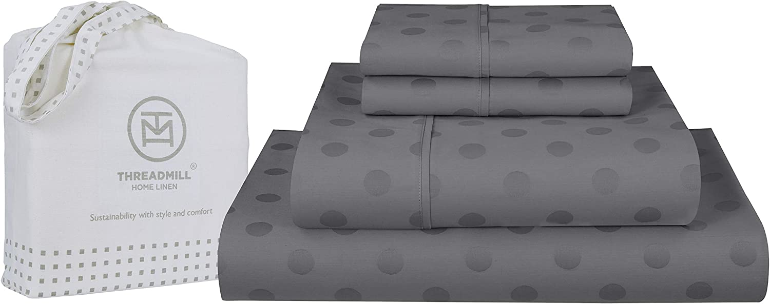 Threadmill Home Linen Twin Sheets - Pure Long Staple Cotton Polka Dot Jacquard Weave, 3 Piece 300 Thread Count Bedsheet Set, Smooth Dark Grey Sheets with Elasticized Deep Pocket