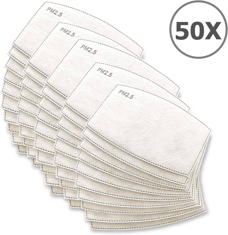 TBOC Filtro Desechable para Mascarilla - [Pack 50 Unidades] Lote de Filtros Intercambiables con 5 Capas de Filtración Material Suave y Transpirable Evita Polvo Sustancias Nocivas Contaminación