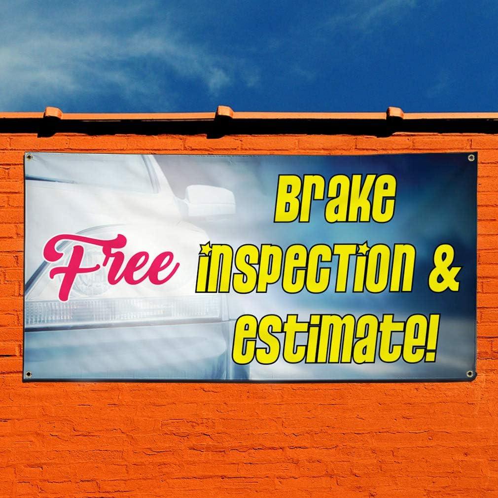 Free Marketing Advertising White 44inx110in One Banner Multiple Sizes Available Vinyl Banner Sign Free Brake Inspection /& Estimate 8 Grommets