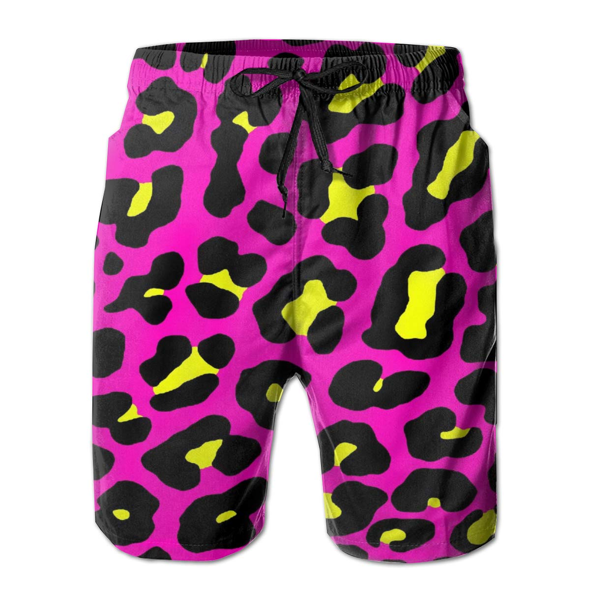 Leisue Cheetah Print Quick Dry Elastic Lace Boardshorts Beach Shorts Pants Swim Trunks Male Swimsuit with Pockets
