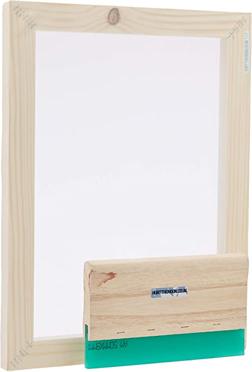 Hunt The Moon Screen Printing Frame Ink and Squeegee Kit Medium A4 32t Wooden
