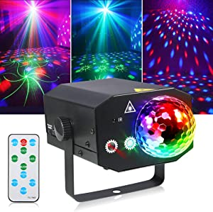 Litake Party Lights + Disco Ball 2 in 1 Dj Disco Stage Lights LED Projector Strobe Light【Metal】, Sound Activated with Remote for Party Birthday Wedding Dance Club Holiday Show Home Karaoke Decor