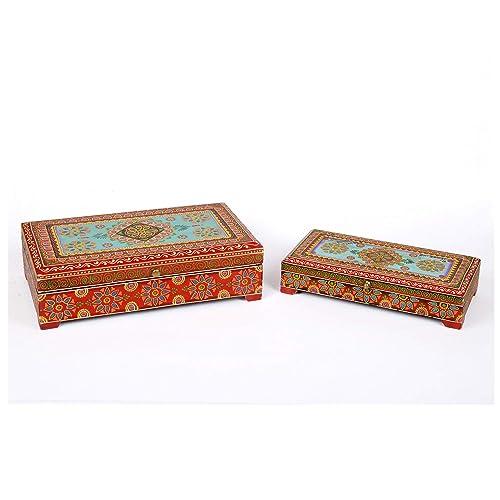 Hechas a mano pintadas a mano PADMEE india madera joyas caja de Indian Style del tesoro
