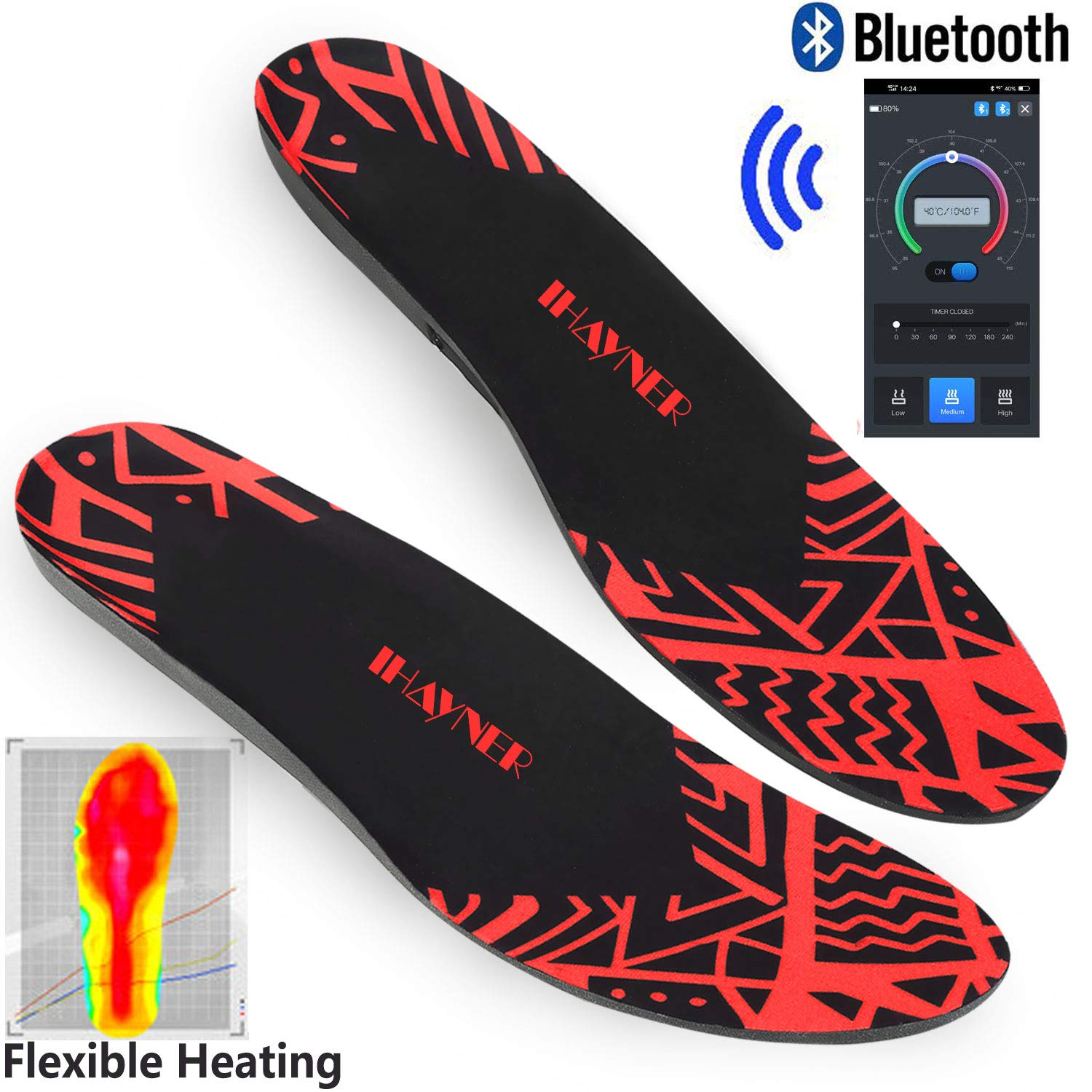 INWAVE US Heated Insoles Rechargeable Bluetooth Controlling Electric Foot Warmers Heating Shoe Inserts for Women and Men