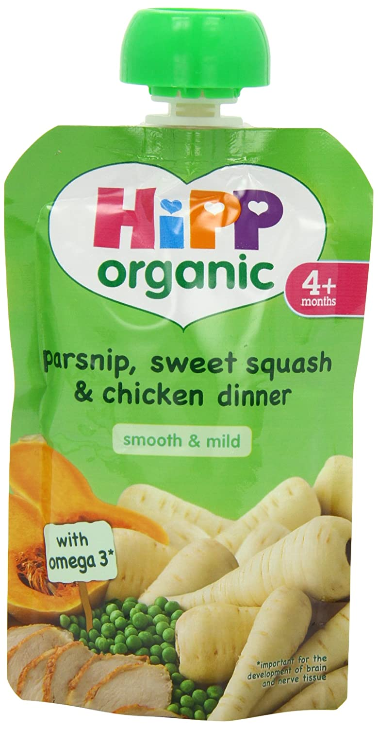 Hipp Organic Parsnip/ Sweet Squash/ Chicken Dinner Pouch Stage 1 from 4 Months 100 g (Pack of 2, Total 10 Pouches) BabyCentre GB8554.23