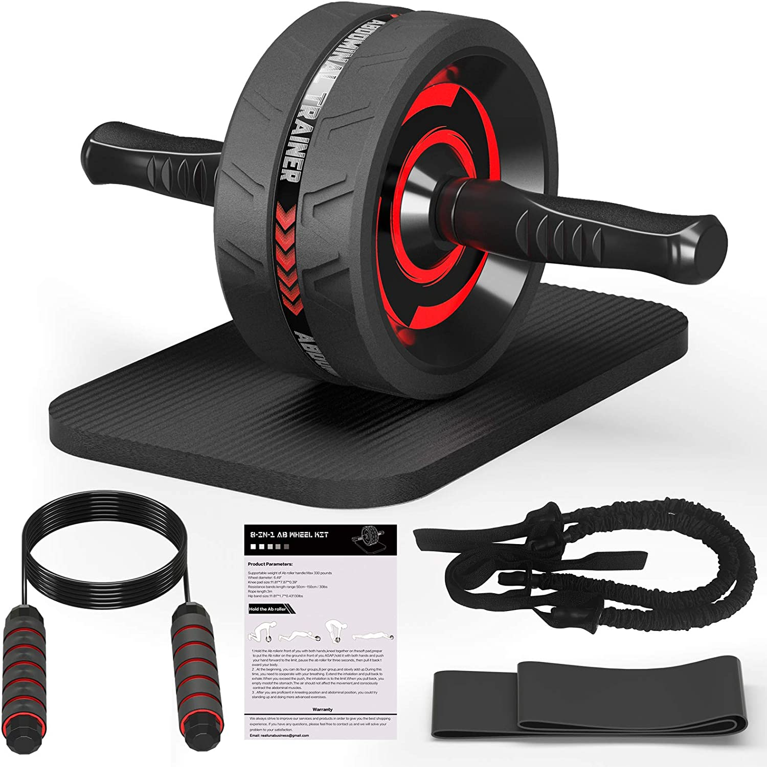 FELICIS 8-in-1 Ab Wheel Roller Fitness Kit, Ab Wheel Exercise Equipment, Sturdy Abs Wheel Roller for Home Abs Workout, Gym Abdominal Stimulator for Men/Women, Knee Pad/Jumprope/Resistance Bands