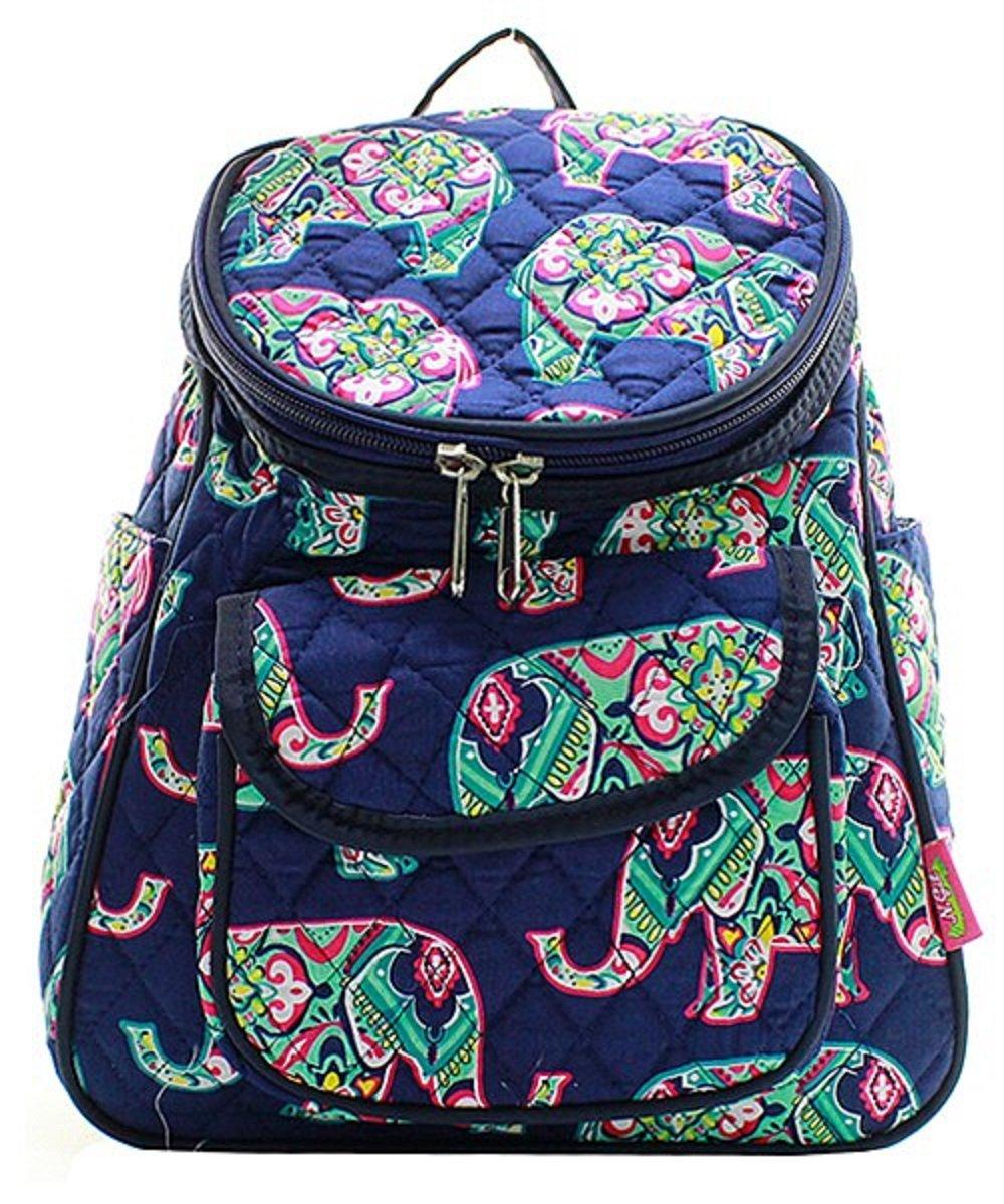 Floral Elephant Print Canvas Small Mini Backpack Handbag