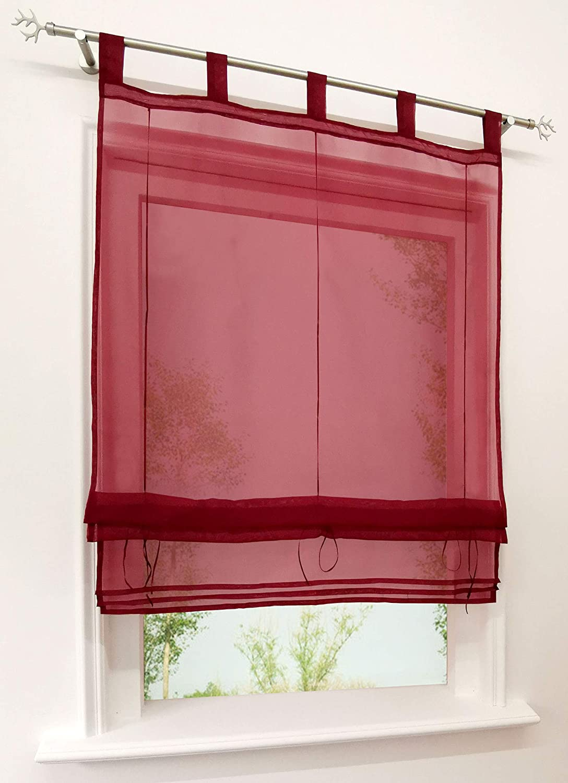 LxH-45x140cm, Beige CURTAIN LAND Store Romain Transparent /à Pattes Couleur Unie