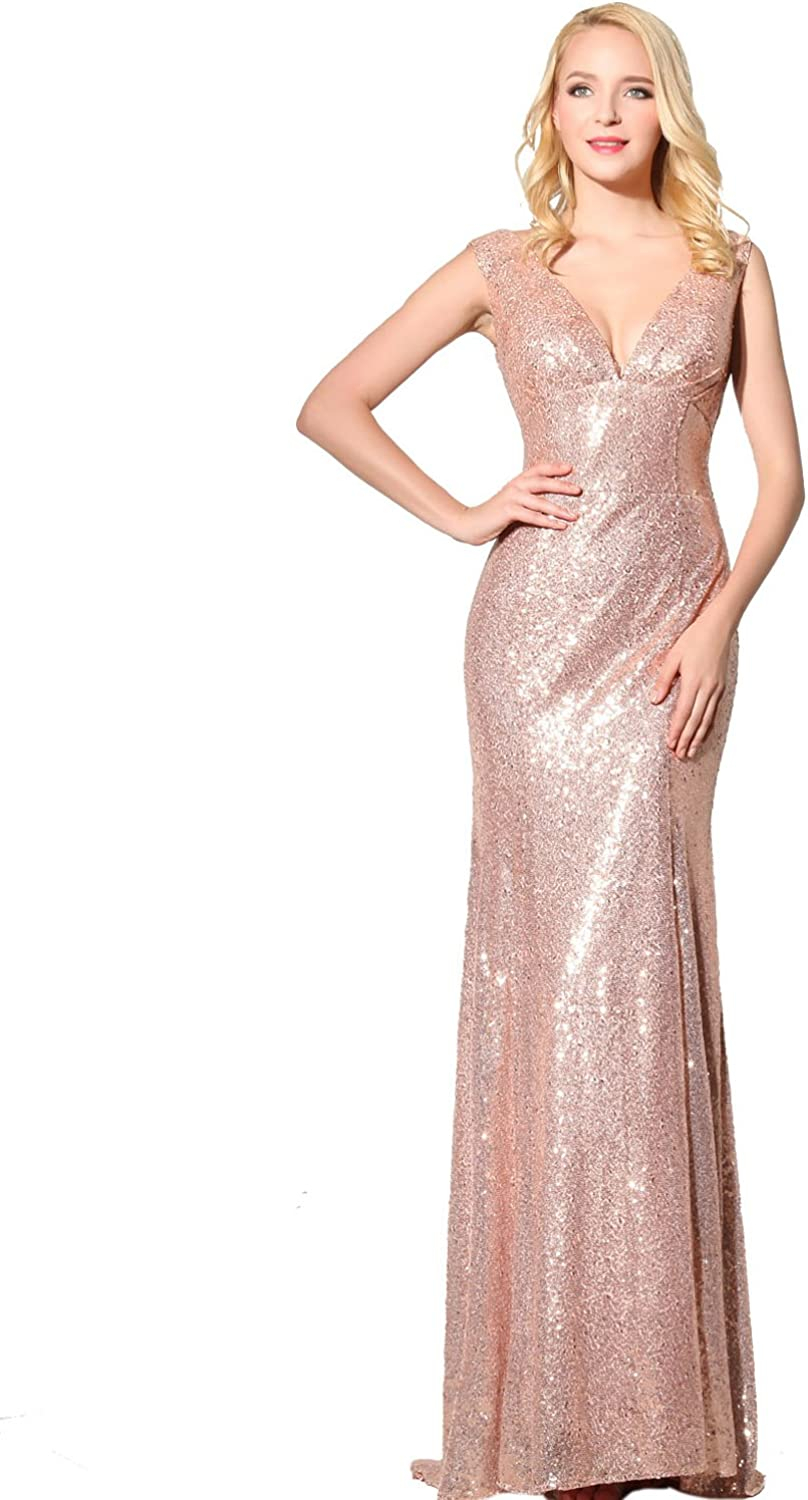 Belle House Womens Sequins Ball Evening Prom Gown Bridesmaid Dress