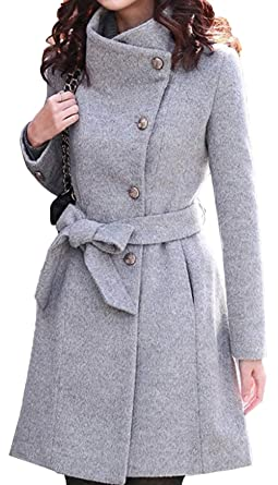 988214f368a9 Bevalsa Damen Stehkragen Winter Mantel Klassischen Doppelten Breasted  Trenchcoat mit Gürtel Warm Schlank Wollmantel Länge Zweireihige