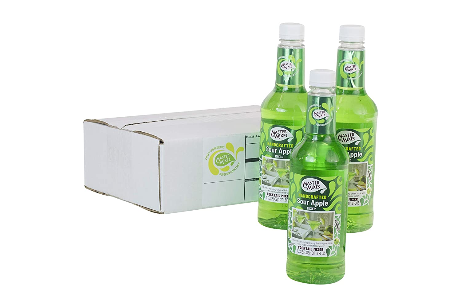 Master of Mixes Sour Apple Martini Drink Mix, Ready to Use, 1 Liter Bottle (33.8 Fl Oz), Pack of 3