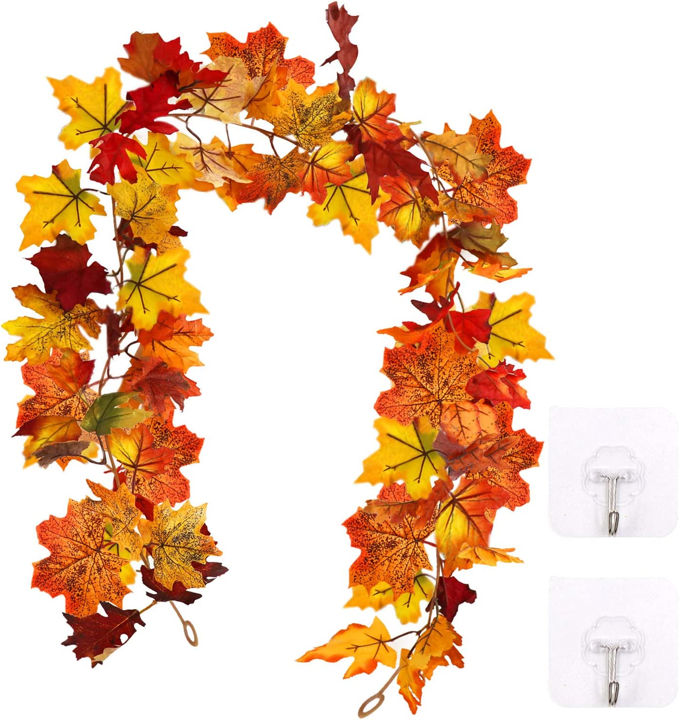 HiGift Fall Garland Maple Leaf with 2 Self-Adhesive Hook up - Artificial Fall Foliage Garland Thanksgiving Fireplace Festival Decor for Home Wedding Party- 5.8 Ft