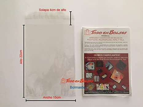 Bolsa de Polipropileno con Solapa Adhesiva de 15 x 22 cm (100 Unidades)