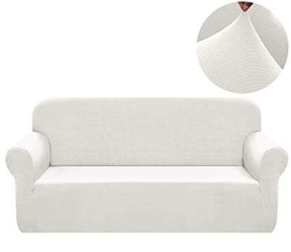Chelzen Stretch Sofa Covers 1-Piece Polyester Spandex Fabric Living Room Couch Slipcovers (XL Sofa, Off White)