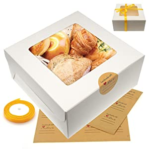 18Pcs White Bakery Cake Boxes with Baking Paper Stickers & Ribbon Roll Set, 6.3 x 6.3 x 3 Inches Paperboard Pastry Biscuit Boxes with Clear Window for Pies, Muffins, Cupcakes, Small Cakes and Donuts