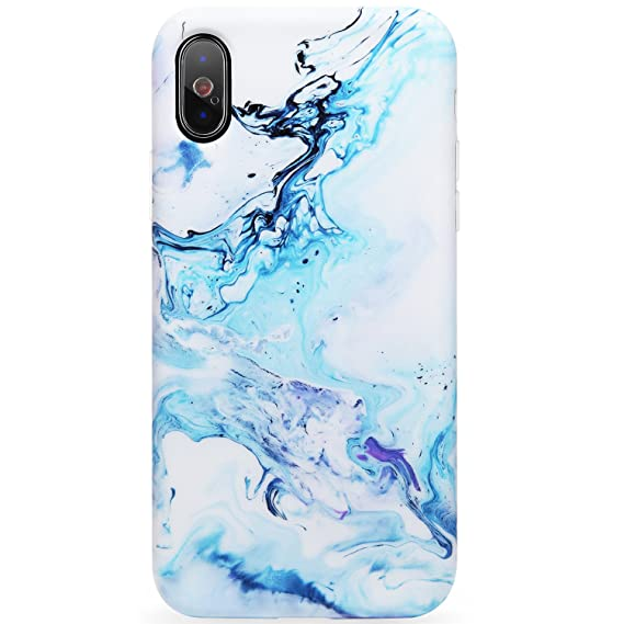 best website b903f e864f DICHEER iPhone X Case,iPhone Xs Case,Cute Blue White Marble for Women Girls  Slim Fit Thin Clear Bumper Glossy TPU Soft Rubber Silicon Cover Best ...